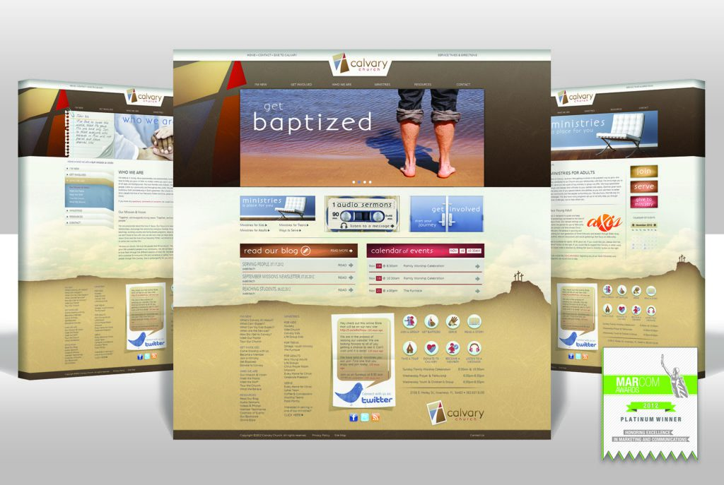 Award winning church website for Calvary Church