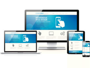 Example of how a responsive website appears on multiple devices like phones, tablets, and desktop computers