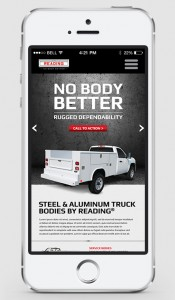 The new Reading Truck Body responsive website as it appears on an Apple iPhone