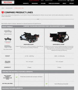 The new Reading Truck Body product comparison tool