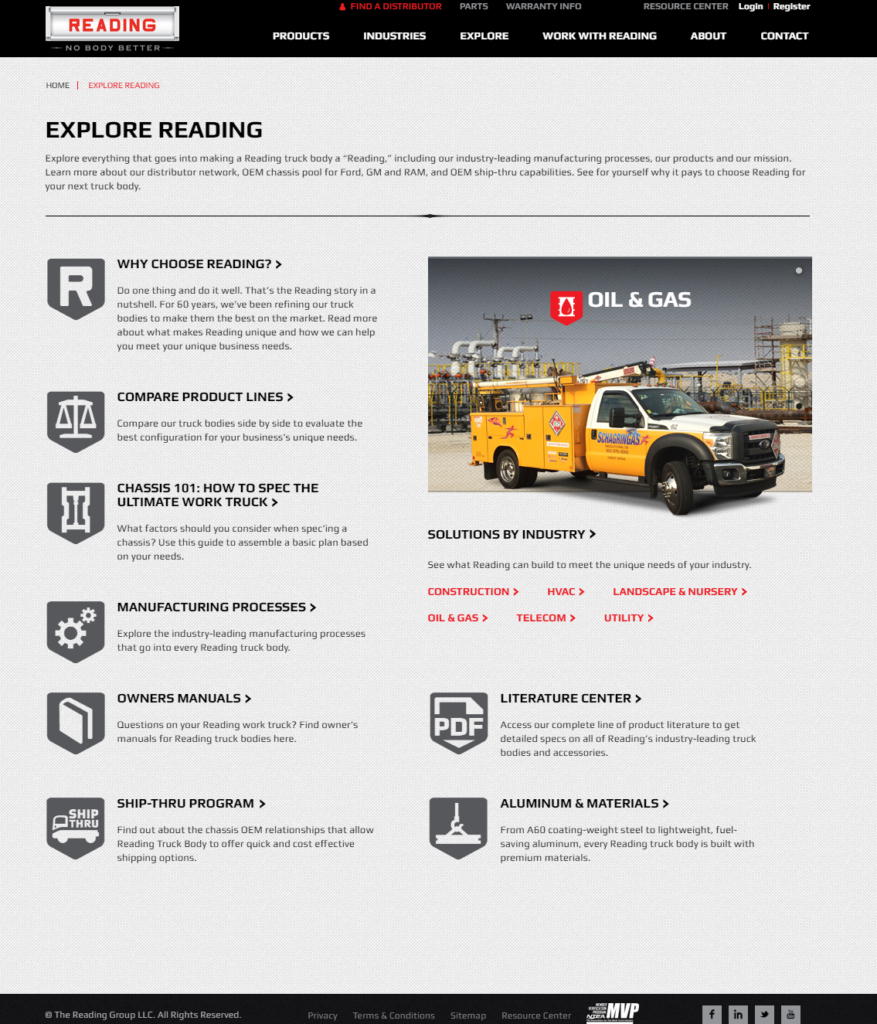 The new Reading Truck Body responsive design, mobile friendly website