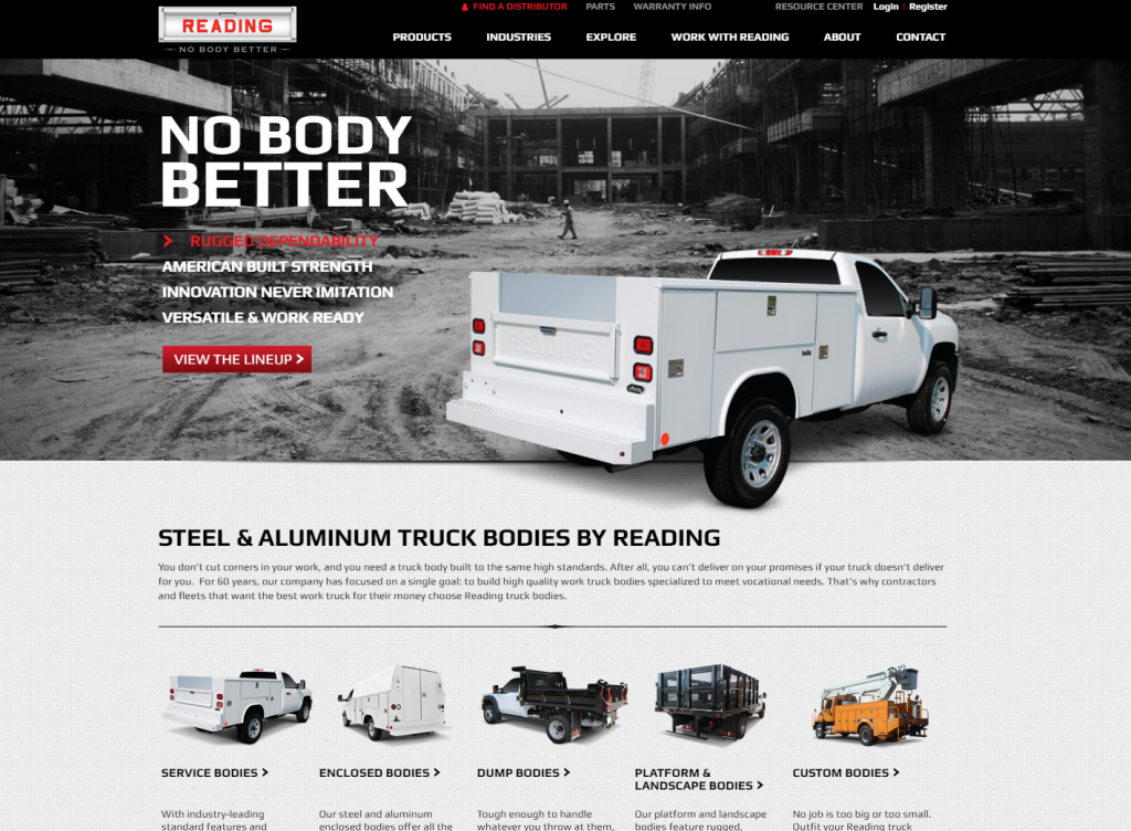 Screenshot of the new Reading Truck Body homepage