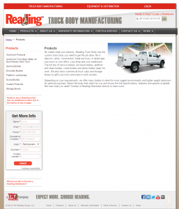 The previous Reading Truck Body site was not responsive or mobile friendly