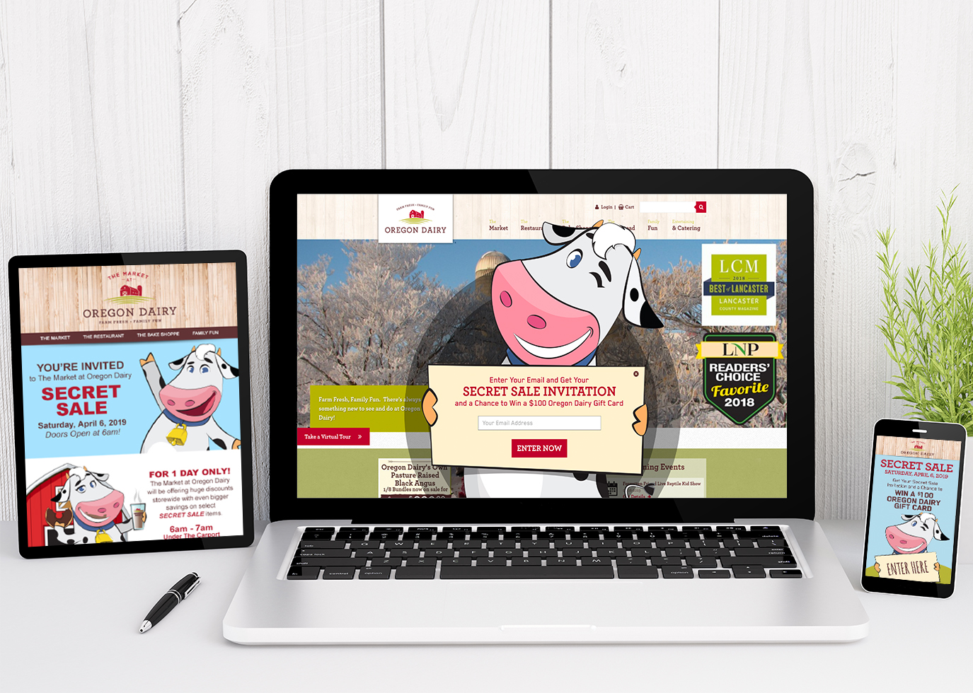 Oregon Dairy website on ipad, desktop, and mobile
