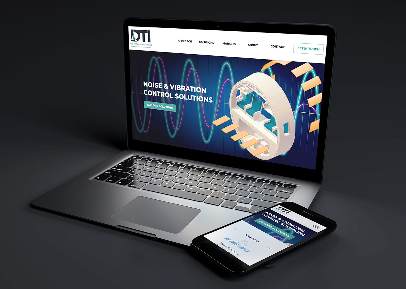 DTI Website on laptop and phone