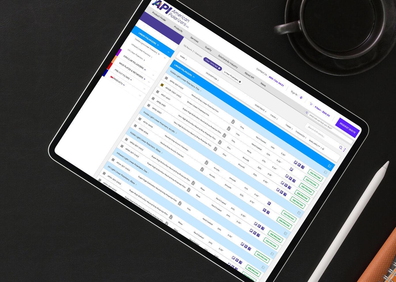 Product Finder on tablet